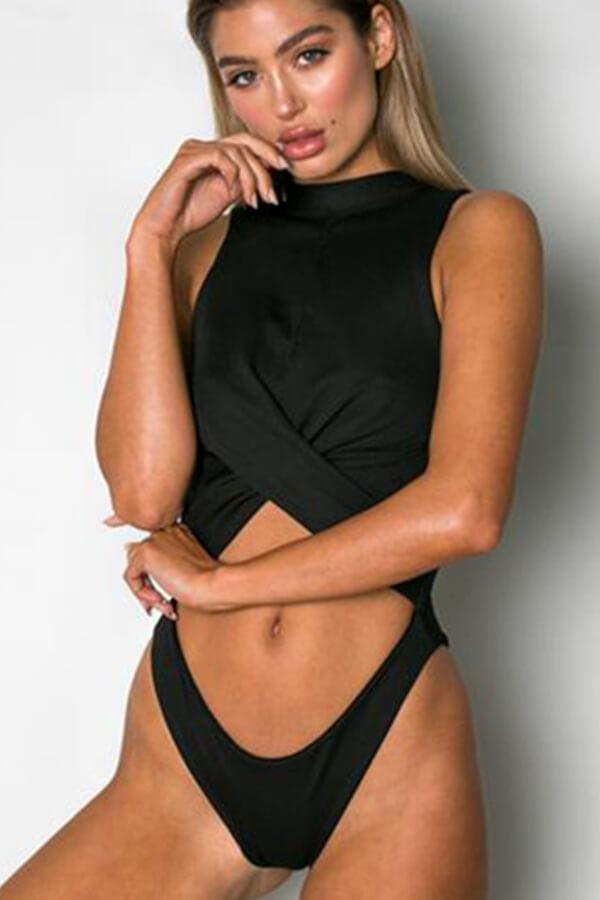7b515bea04b1f Floralkini Wrap Cut Out Front High Neck One Piece Swimsuit - Bathing ...