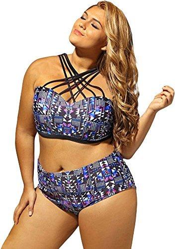 BlingZoe Women's Swimwear 2 Piece Bandeau Bikini Sexy Criss-Cross Bathing Suit