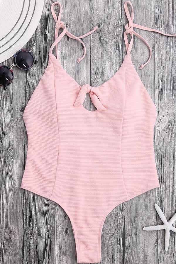 10bf535b982e Floralkini Pink Knot Front Tie Shoulder One Piece Swimsuit - Bathing ...