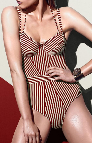 762afc6f054aeb Floralkini Red Double Strappy Striped One Piece Swimsuit - Bathing Suits