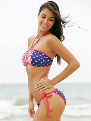Keyhole American Flag Patriotic Bandeau Swimwear