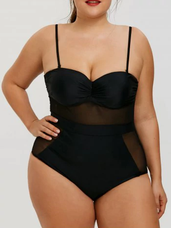 Women's Plus Size Swimsuit Black Underwired Swimsuit