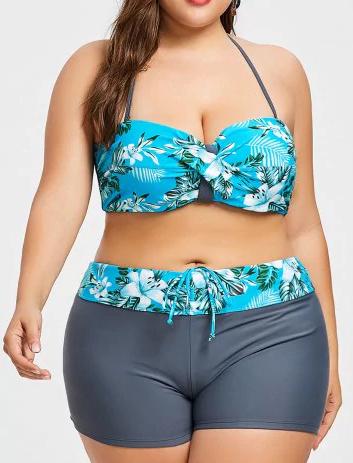 Plus Size Floral Leaf Print Bikini Set - Oasis - 2x