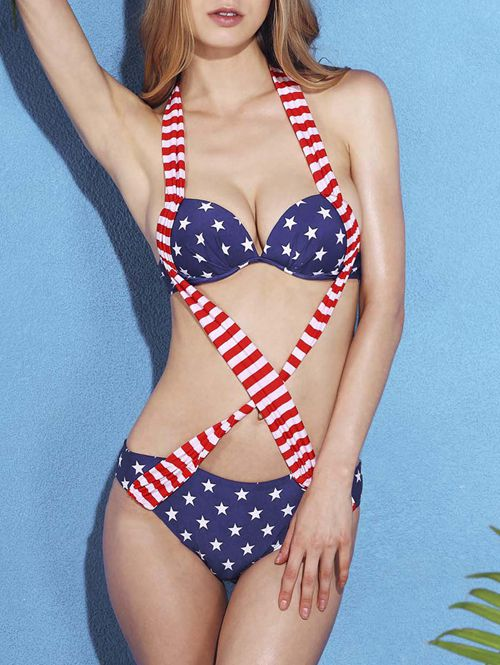 Women's Cut Out Star Striped One Piece Swimwear