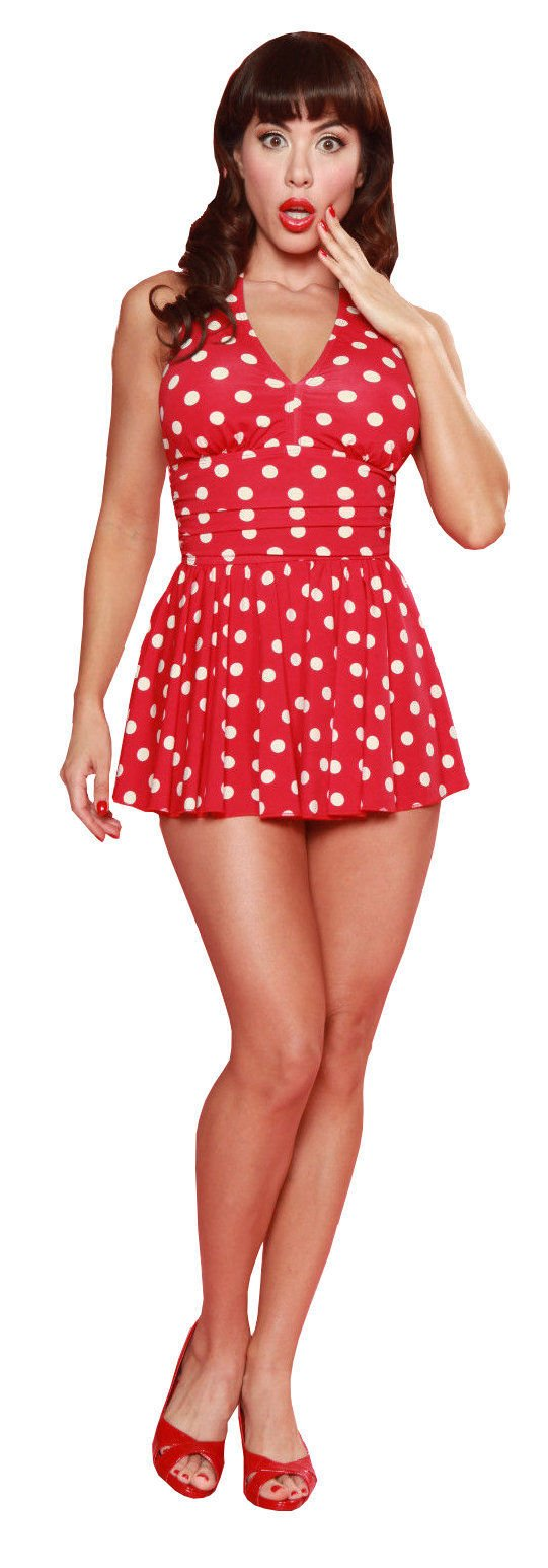 esther williams red one piece polka dot bathing suit