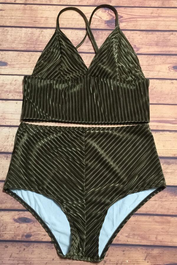 dbf68cbe07264 Floralkini Bralette High Waist Velvet Bikini Set - Bathing Suits