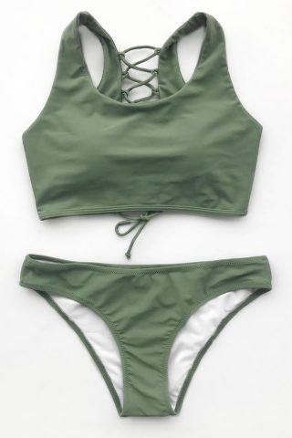 Cupshe Matcha Mousse Solid Bikini Set