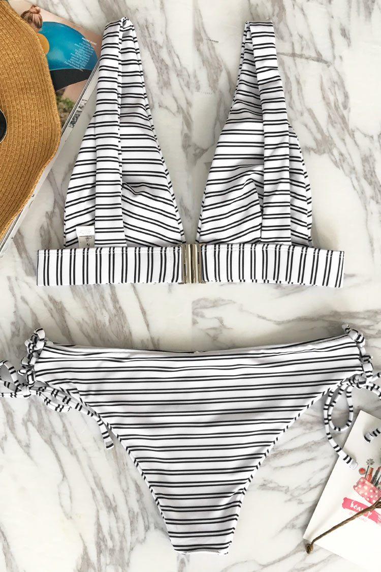 Cupshe Out Of The Ordinary Stripe Bikini Set
