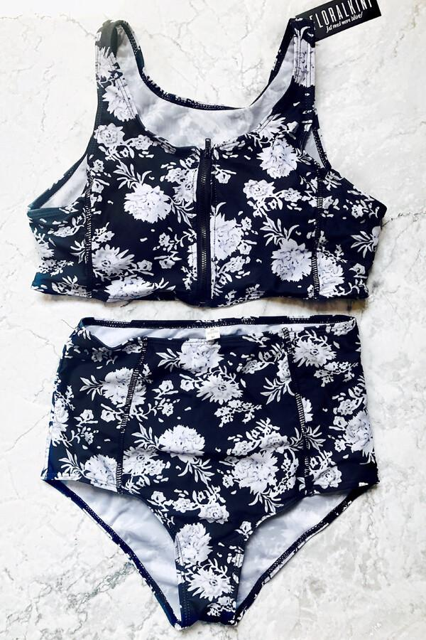 6e5b59b1bc2c9 Floralkini Black White Floral Zip-Front Crop Bikini Set - Bathing Suits