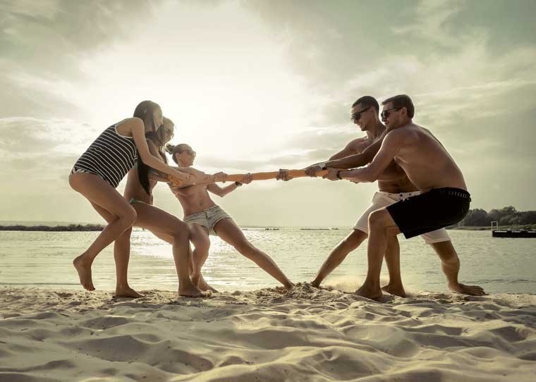 Fun Beach Activities for Adults - beach tug of war