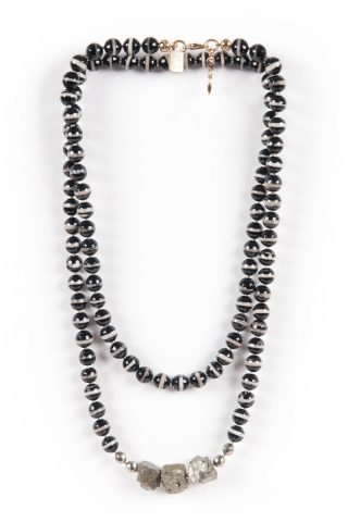 Yards of Agate and Pyrite Necklace
