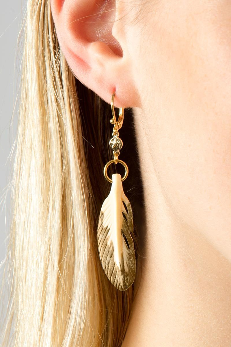 Bone Feather Earrings