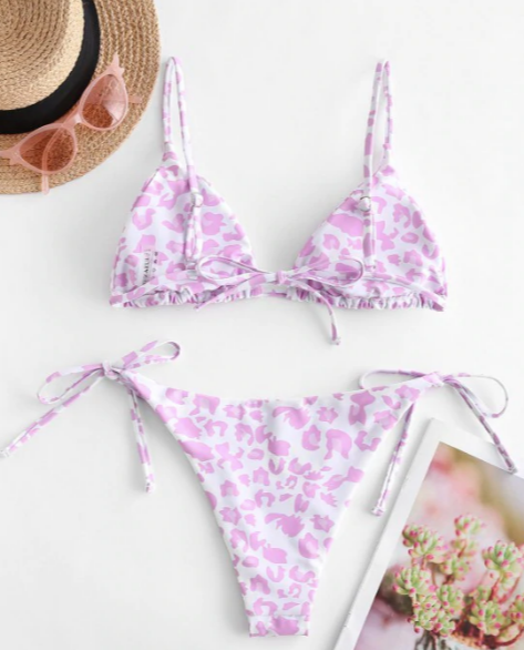 ZAFUL Animal Print Tie String Bikini Set - Light Pink